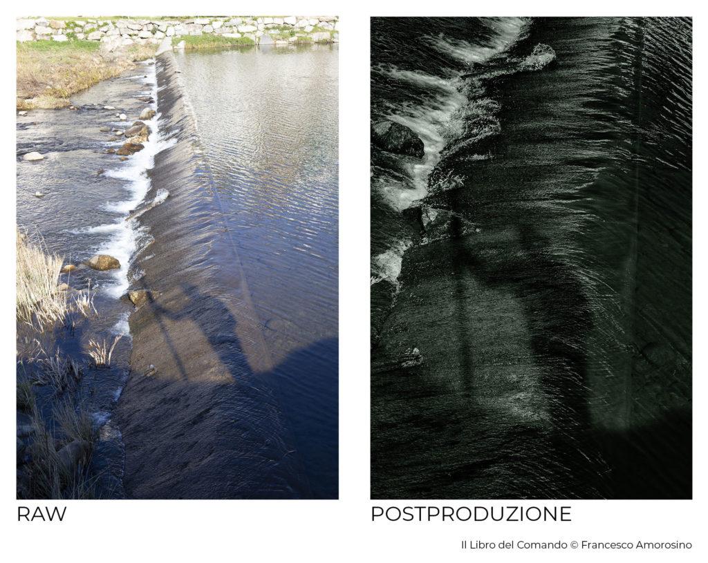 """Un confronto tra prima e dopo del file raw originale e di un file postprodotto del lavoro """"Il Libro del Comando"""" di Francesco Amorosino"""
